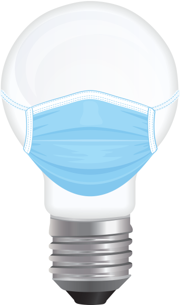 Bulb icon with protective mask