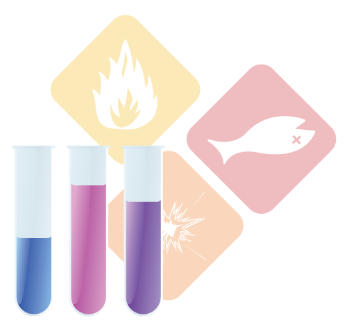 Collage of chemical hazard icons