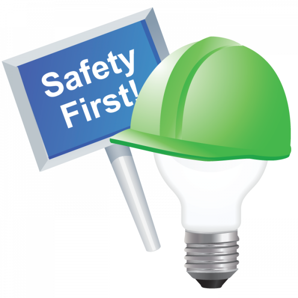 ChemHAT lightbulb logo with sign reaidng Safety First